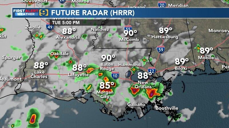 Future radar for Tuesday, August 17.