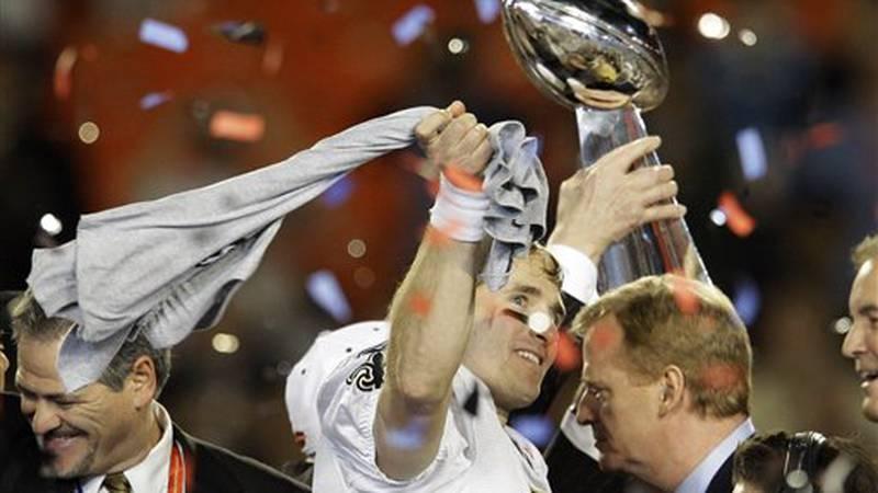 Drew Brees celebrates 2010 Superbowl win.