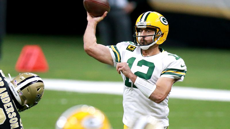 NEW ORLEANS, LOUISIANA - SEPTEMBER 27:  Aaron Rodgers #12 of the Green Bay Packers attempts a...