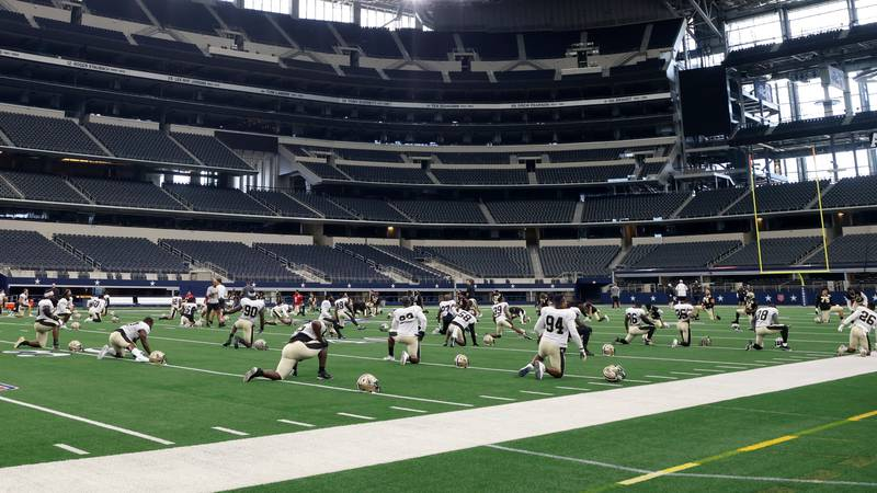 After practicing for two days at AT&T Stadium, the Saints will begin practicing at TCU on Monday.