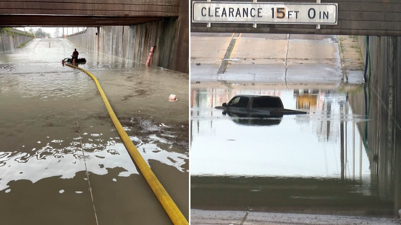 Baton Rouge firefighters rescued a driver who got stuck trying to drive through a flooded...