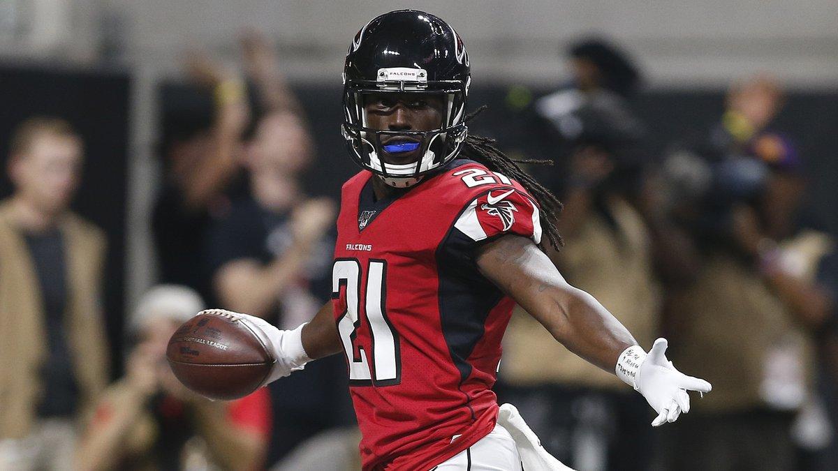 FILE - In this Sept. 15, 2019, file photo, Atlanta Falcons cornerback Desmond Trufant (21)...