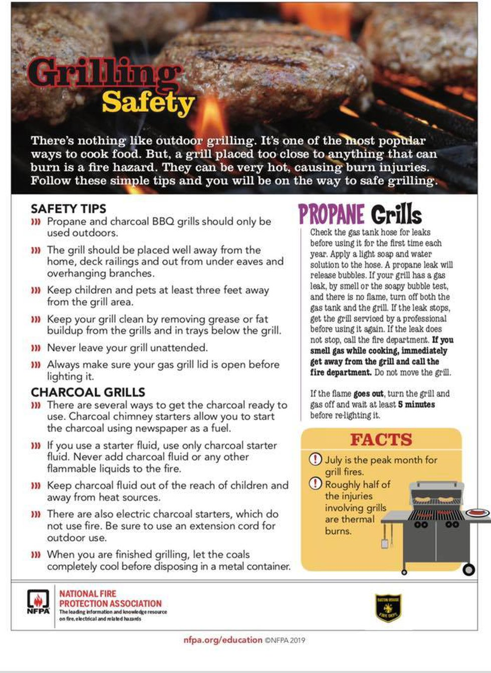 Baton Rouge Fire Department grilling safety.