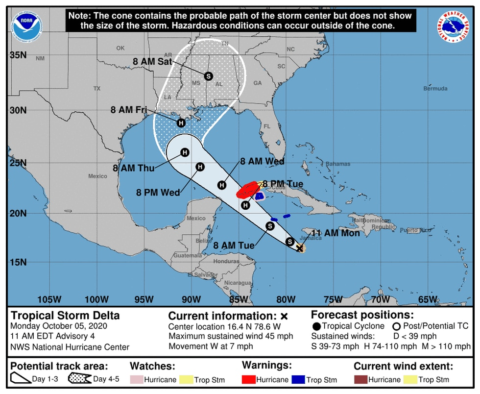 10 a.m. advisory Oct. 5, 2020 for Tropical Storm Delta