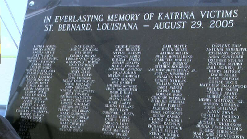 A monument to the 164 lives lost in St. Bernard Parish during Hurricane Katrina