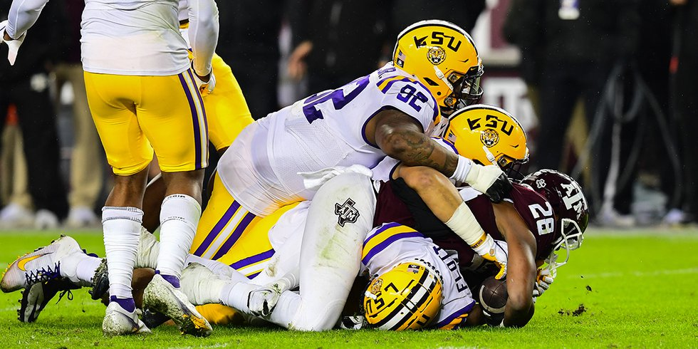 LSU defensive end Neil Farrell Jr. (92) during the second half of a game against the Texas A&M...
