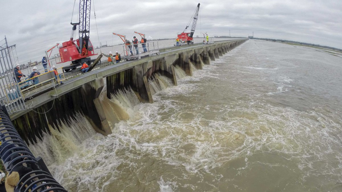 Crews in this file photo open part of the Bonnet Carre Spillway
