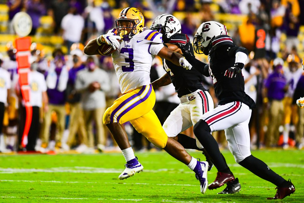 Tyrion Davis-Price during the first half of a game between LSU and South Carolina at Tiger...